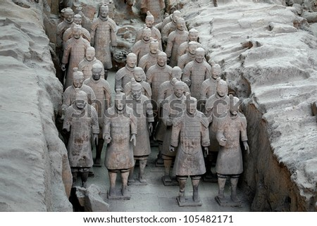 XIAN, CHINA - MARCH 19: Terracotta Warriors in Xian, China on March 19, 2009. The figures are discovered in 1974.