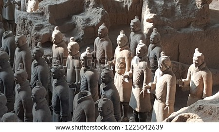 Xian. China. Terracotta Army near the city of Xian, China. A collection of funerary art, the terracotta sculptures depict the armies of Qin Shi Huang, the first Emperor of China.