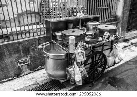 Ximending, Taipei city, Taiwan - April 4, 2015 : food cart in Ximending, Ximending is a neighborhood and shopping district in the Wanhua District of Taipei, Taiwan.
