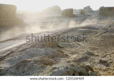 xinjiang, china: yardang landforms in urho (wuerhe) ghost town near kalamay