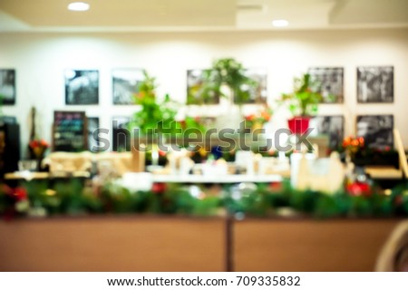 xmas background. xmas tree and room with window of winter. blur. Christmas interior #709335832
