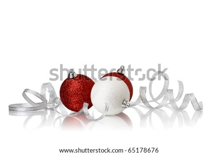 xmas ball and ribbonl on a white background