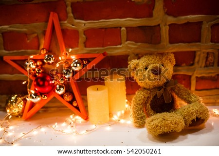 xmas bear. xmas background. lights.  #542050261