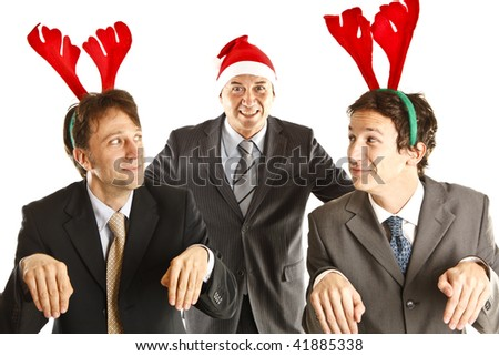 xmas businessman with reindeer