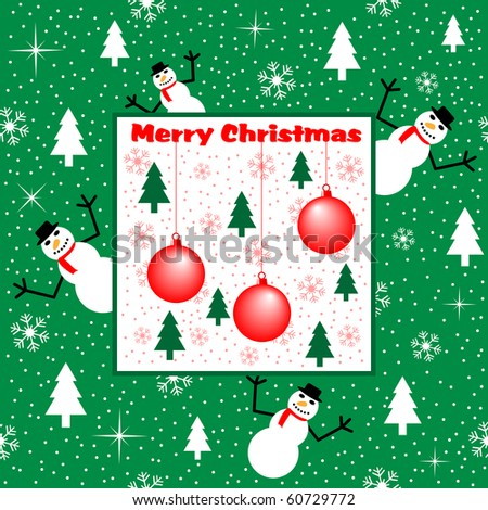 stock-photo-xmas-cartoon-scene-with-snowmen-trees-baubles-snowflakes-stars-and-snow-on-a-green-background-60729772.jpg