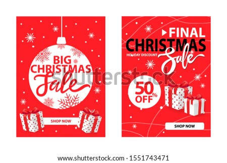 Xmas clearance cover design raster on red. Christmas final sale holiday discount with wrapped gift boxes. 50 percent off, half price discount poster,