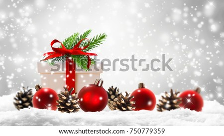 xmas decoration, christmas gift in snow #750779359
