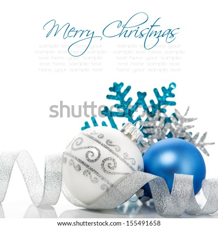 Xmas decoration on white background with space for text