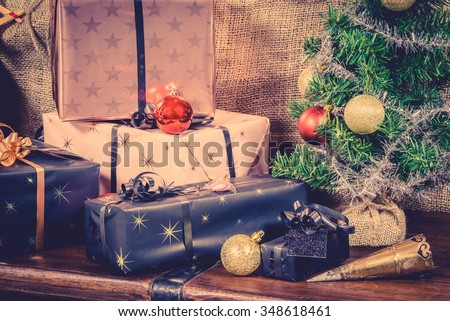 Xmas gifts under the tree in vintage colors