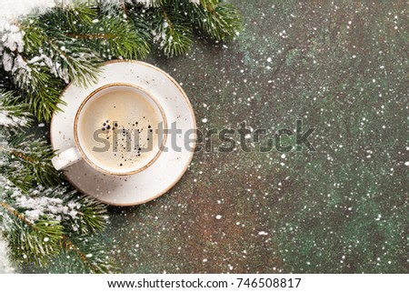 Xmas greeting card. Christmas background with snow fir tree and coffee. View from above with space for your greetings #746508817