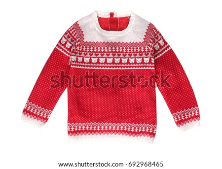 Xmas holiday red knitted patterned sweater isolated on white.