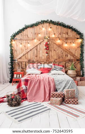 xmas in morning bedroom. double ...