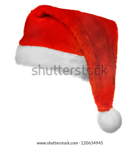 Xmas santa hat,  isolated on white