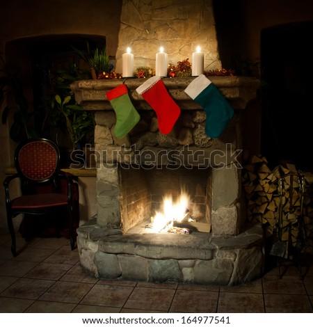 xmas stockings on chimney place ...