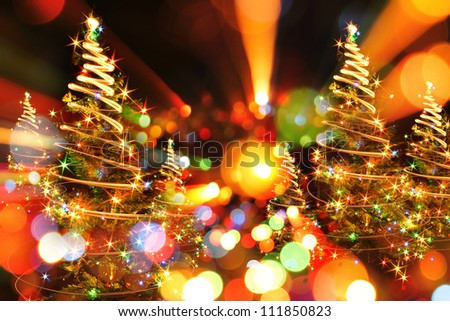 xmas tree as very nice christmas background from color lights - stock photo