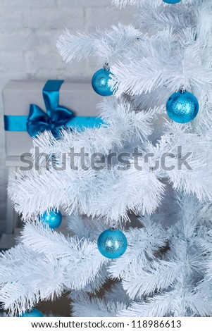 Xmas tree decoration, fur-tree decorated with New Year\'s toys
