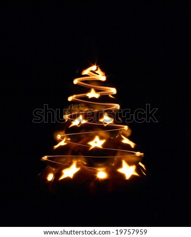 xmas tree from the stars on the black background