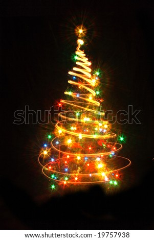 xmas tree (lights) on the black background