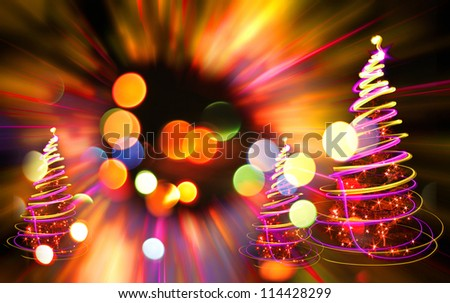 xmas tree lights on the color christmas background