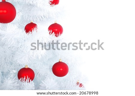 Xmas white tree with red balls. Christmas background #20678998
