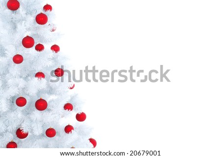 Xmas white tree with red balls. Christmas background #20679001