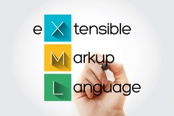 XML - eXtensible Markup Language acronym, technology concept background
