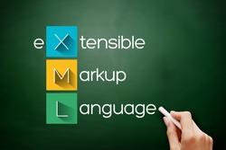 XML - eXtensible Markup Language acronym, technology concept background on blackboard