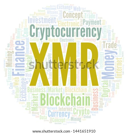 XMR or Monero cryptocurrency coin word cloud. Word cloud made with text only.