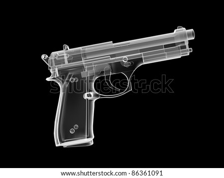 xray image of a pistol. 3d render. - stock photo