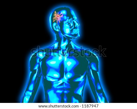 XRAY STYLE IMAGE OF MAN WITH DAMAGED BRAIN