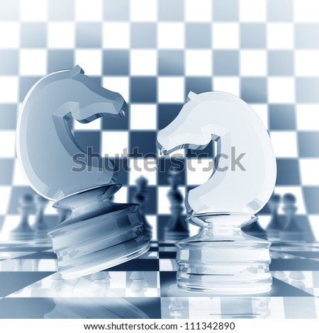 Xrey chess horse background  3d illustration. high resolution
