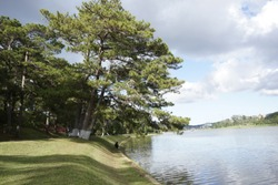 Xuan Huong Lake, Dalat City, Lam Dong province. The lake lasts around 25ha & links many wards in centre. You can see the chicken church or TV station tower. It takes around 1hrs to go around the lake