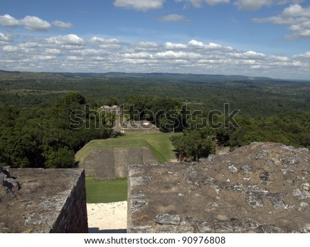 Xunantunich, Belize.  The Mayan El Castillo pyramid, rises 130 feet above the main plaza and offers an impressive Panoramic View of the Belize's Cayo District and nearby Guatemala.