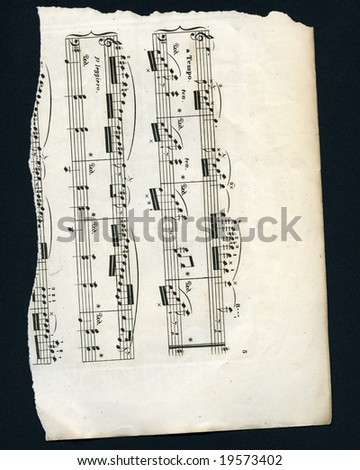 XXL high res image. Fragment of old sheet music, composer unknown