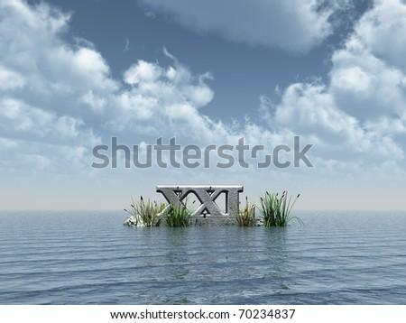 xxl monument at the ocean - 3d illustration