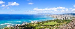 XXL panorama view of Honolulu and Waikiki Beach seen from Diamond Head Crater on the island of Oahu, Hawaii, USA. Hawaii is a famous tourist destination for Americans and Asians.