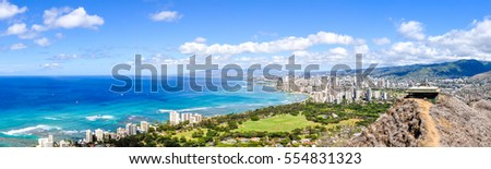 Shutterstock XXL panorama view of Honolulu and Waikiki Beach seen from Diamond Head Crater on the island of Oahu, Hawaii, USA. Hawaii is a famous tourist destination for Americans and Asians.