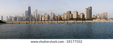 XXL Panoramic view of Chicago from North Ave beach
