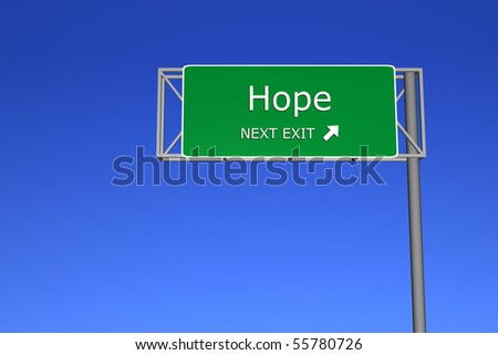 XXL resolution 3D render of  highway sign - Hope