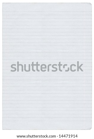 XXL size piece of lined paper isolated on pure white background