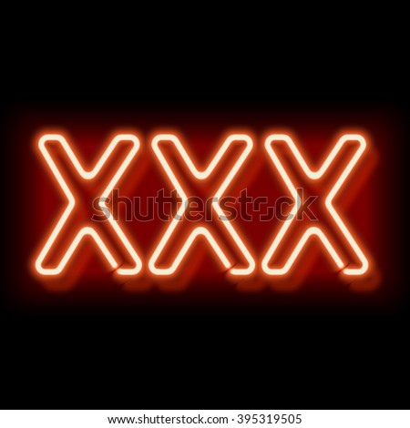 XXX neon sign. Lamp symbol 18. Burning erotic sign. Vintage electric symbol. Burning a pointer to a black wall in a club, bar or cafe. Design element for your ad, signs, posters, banners.