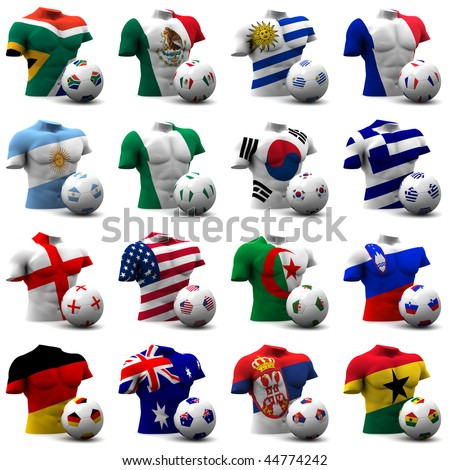 XXXL 3D render of Groups A to D participating in the World Cup 2010 tournament to be held in South Africa. Athletic torso and ball depicted. Medium resolution - look out for more 2010 images.