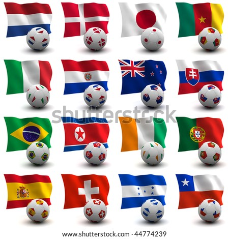XXXL 3D render of Groups E to H participating in the World Cup 2010 tournament to be held in South Africa. Flag and ball depicted. Medium resolution - look aout for more 2010 images.