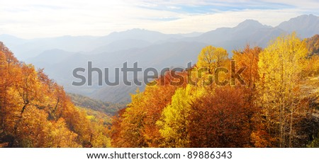 xxxl panorama of a Balkan Mountains in the fall