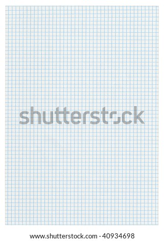 XXXL size piece of squared paper on white background