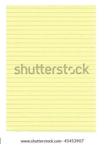XXXL size yellow lined paper isolated on white background
