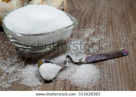 Photo of Xylitol from birch sugar -  substitute white sugar -  produkt used in the food industry - an alternative for people who like