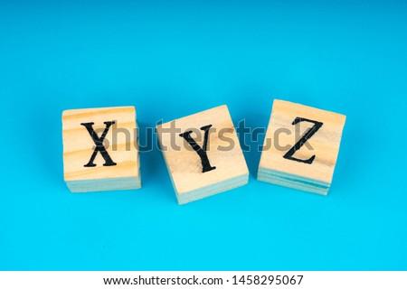 xyz letters written on wooden cubes Stok fotoğraf ©