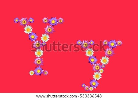 Free photos flower font y avopix y alphabets set lotus flowers font isolated on red background 533336548 mightylinksfo