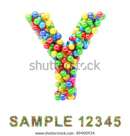 Y: Colorful letters and numbers on white background.